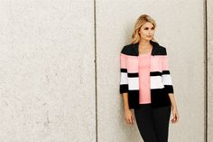 Reinvent your spring wardrobe with this boldly striped jacket. Featuring a lapel collar and gracefully falling past the hips, this textured knit is a slimming silhouette for any shape. Style this look with your Misook essentials for an ensemble that is appropriate for day to night wear.