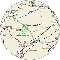 This circular maps shows the roads leading to Black Moshannon State Park, Pennsylvania.