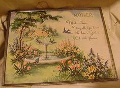 Old-1939-MOTHER-Poem-W-Blue-Birds-Flowers-Cottage-Print-in-8X10-Frame