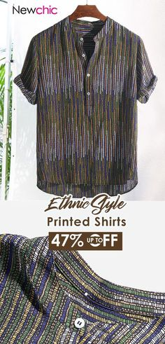 ChArmkpR Mens Ethnic Style Printed Stand Collar Colorful Stripe Short Sleeve Loose Henley Shirts is best and cheap on Newchic. African Inspired Fashion, Ethnic Fashion, Mens Fashion, Stylish Mens Outfits, Casual Wear For Men, Ethnic Style, Henley Shirts, New Wardrobe, Striped Shorts