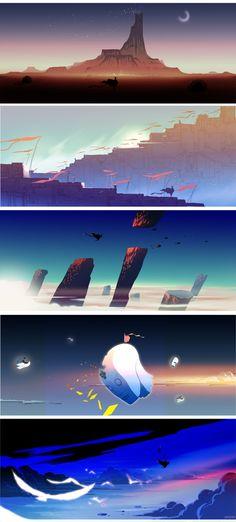 time by yao yao, via Behance ван момент флат Cartoon Background, Animation Background, Art Background, Background Patterns, Landscape Concept, Fantasy Landscape, Landscape Art, Bg Design, Game Design