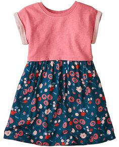Our double comfy dress has all-out cushiony softness in its French terry bodice—plus the twirly drape of challis in its pretty print skirt. Best of all, it's super easy to wash. Girls Fall Fashion, Baby Girl Fashion, Toddler Fashion, Autumn Fashion, Comfy Dresses, Girls Dresses, Kids Outfits, Cute Outfits, Toddler Girl Style
