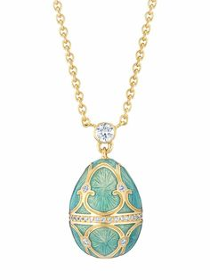Day Flechazo pendant by Fabergé egg with miniature gold with diamonds