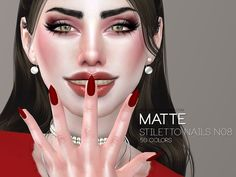 Pralinesims' Matte Stiletto Nails N08