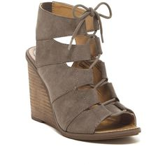 Melrose and Market Calista Fab Wedge Sandal ($50) ❤ liked on Polyvore featuring shoes, sandals, stone, lace up wedge sandals, retro shoes, wide width shoes, wedge heel sandals and wedge sandals