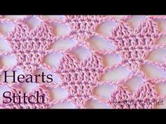 Hearts stitch Easy Crochet Pattern (English) – My CMS Gilet Crochet, Crochet Shell Stitch, Crochet Chart, Crochet Top, Crochet Afghans, Crochet Hooks, Crochet Stitches Patterns, Crochet Designs, Stitch Patterns