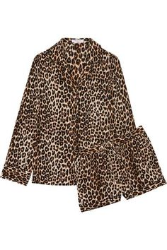 Leopard-print washed-silk Button fastenings through front 100% silk Dry clean Imported