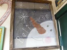 Painted on a window screen.