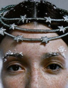Audrey Marnay by Eric Traore for Vogue Paris September 1999. Chanel white gold and diamonds tiare headbands. @thecoveteur