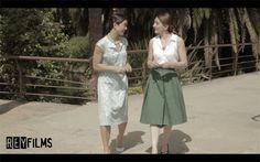 """Cortometraje """"La piel de Victoria"""" Lisa (Vanessa Castro) y Victoria (Judith Garcia Rosado). Escena en Parque Wellington, Barcelona"""