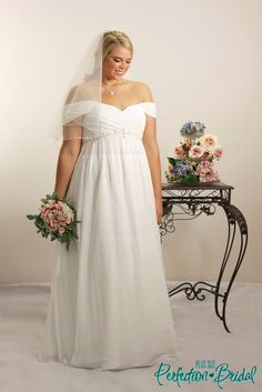 The Venus Plus Size Wedding Gown Is Made From Soft Flowing Chiffon In Empire Line Dress Style Only At Our Bridal Shop Hallam