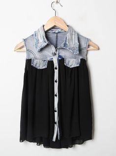 Denim Lapel Sleeveless Black Chiffon Shirt