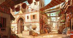 ArtStation - Daily sketch Ananda C. Fantasy City, Fantasy Places, Fantasy World, Fantasy Concept Art, Fantasy Artwork, Environment Concept Art, Environment Design, Fantasy Setting, Visual Development