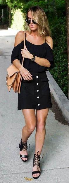 Black off Shoulder Light Top, Black Button Front Skirt, Beige Choe Bag, Black Sandals | All Black In The Tropics | Bykiki