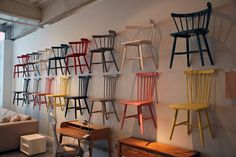 Come check out the chair wall at Pick a style and color! Showroom, Bar Stools, Chair, Wall, Furniture, Home Decor, Style, Recliner, Homemade Home Decor