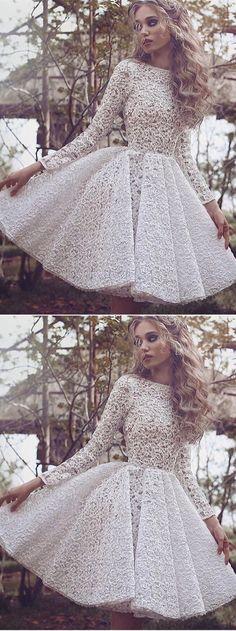 Only $132--Long sleeve lace short prom dress from 27dress.com. Extra $15 OFF, Code:PIN #27dress #shortpromdress #lacedress #homecomingdress