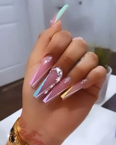 Drip Nails, Glow Nails, Acrylic Nails Coffin Pink, Nails Design With Rhinestones, Luxury Nails, Stylish Nails, Pretty Nails, Gorgeous Nails, Swag Nails
