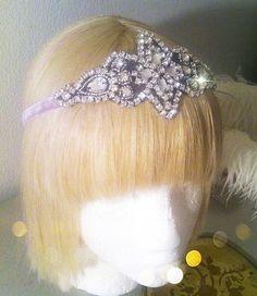 Winter Solstice Crystal Princess Crown Headband Tiara Antique 1920s  Flapper Velvet  Ribbon Vintage Bride New Years Eve Headpiece  @Sandra Van De Moere
