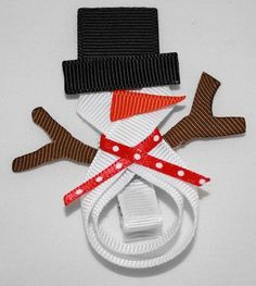 snowman ribbon hairbow