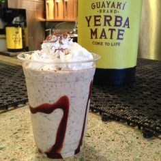 """""""This deliciousness is a non-dairy mate shake. Made with a cup of cold-brewed Guayaki Yerba Mate plus a dash of mate extract, non-dairy ice cream, raw cacao nibs, vegan chocolate syrup and non-dairy whip cream. """""""