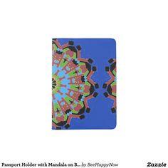 Passport Holder with Mandala on Blue Background