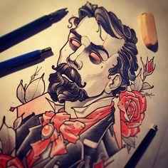 #tattoo #tattooart #tattooflash #mvtattoo #sketch #men #gentleman #sir #man #roses #neotrad