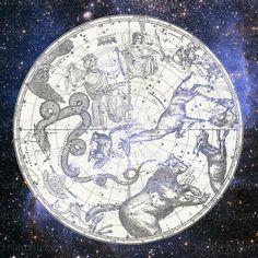 Vintage Astrology Map  horoscope star galaxy 9x9 by pickychicken, $2.40