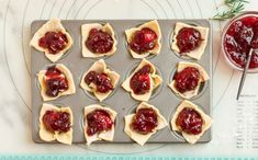 Sweet meets savory in this baked Brie Bites recipe! Cranberry sauce blends perfectly with Brie cheese in a DELISH puff pastry shell! Brie Puff Pastry, Puff Pastry Recipes, Brie Cheese Recipes, Fig Butter, Brie Bites, Cheese Puffs, Crescent Roll Recipes, Pastry Shells, Baked Brie