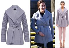 We begin with her Wrap Coat with Ribbed Sleeves from Canada's Sentaler brand.