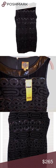 Tory Burch Sequin Formal Black Dress Brand new with tags and extra beads. Very chic and elegent dress!! The amount of detail and work that's been done on this dress is absolutely breath taking. Let me know if you have any questions :) Tory Burch Dresses Midi