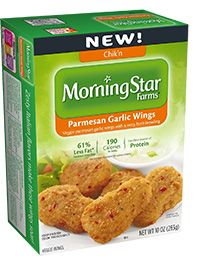 MorningStar Farms® Parmesan Garlic Wings – 12g of protein per serving*  *See nutrition information for sodium and saturated fat content.