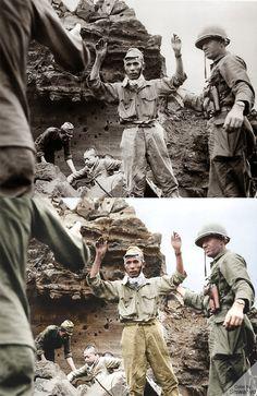 Prajurit Jepang menyerah kepada Sekutu di Iwo Jima, April 1945  Source: http://www.theatlantic.com/infocus/2011/10/world-war-ii-the-fall-of-imperial-japan/100175/