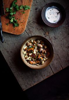 Curry-Spiced Kabocha Gnocchi with Roasted Cauliflower & Sriracha-Coconut Crème Fraîche//reclaiming provincial