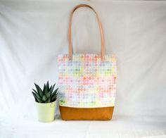 Rainbow Tote Bag  Colorful Checkered Handbag  Purse  by 162PENS, $75.00