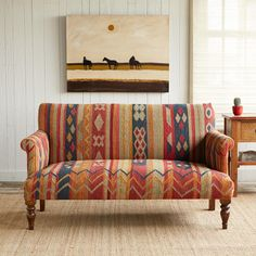 """Love!!!<3ALAMEDA STUDIO SOFA--Perfectly sized for smaller spaces, this sofa makes a big statement with its handwoven kilim upholstery and striking colors. It's built upon a wood base and has polyfiber filling. Wool. Imported. 58""""W x 30""""D x 34""""H. Additional shipping, $375."""