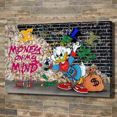 Disney Pop Art, Dagobert Duck, Tableau Pop Art, Money On My Mind, Dope Cartoon Art, Canvas Wall Art, Canvas Prints, Graffiti Wall Art, Scrooge Mcduck