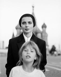 Isabella Rossellini and daughter, Elletra Wiedemann  Moscow, 1990