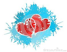 A couple of hearts on an abstract background in red tones. an idea to talk about love