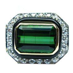 1stdibs - David Webb Tourmaline Diamond Onyx Statement Ring explore items from 1,700  global dealers at 1stdibs.com
