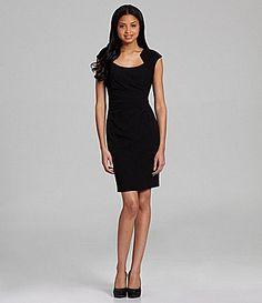 Calvin Klein Side Ruched Knit Dress Little Black