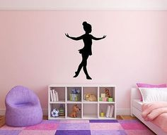 "Ballerina Wall Decal - 39"" x 27"" Ballerina Silhouette Vinyl Decal - Ballerina 11"
