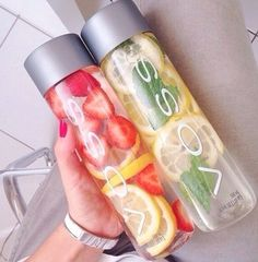 Strawberry + Lemon and Lemon + Mint leaves Detox Waters ( A little mint in your water can be helpful with pimples, nausea, headaches, digestion, some studies even believe can help with depression, fatigue, breast feeding and asthma