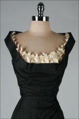 Vintage 1950's Black Silk Shelf Bust Deadstock Wiggle Dress thumbnail 3