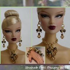Barbie Doll Jewelry  Necklace Earrings by shahabdolldesigns, $9.95