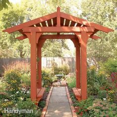 Build a vine-covered pergola in your backyard to shade a stone patio or wood deck using wood beams and lattice set on precast, classical-style columns. The