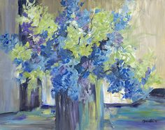 Hydrangea Blues by Anne Waters Acrylic ~ x Blue Hydrangea, Hydrangeas, Impressionism, Acrylics, Flower Art, Vases, Pots, Flowers, Painting