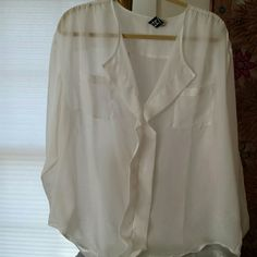 Marc Bouwer sheer blouse The beautiful sheer white crisp blouse by Marc Bouwer supposed to wear it loose and flowing whatever you want to put under it to make it exciting you will have fun with this top beautiful never worn Marc Bouwer  Tops Blouses