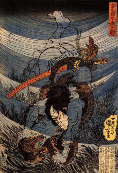Utagawa Kuniyoshi. Takagi Toranosuke capturing a Kappa underwater in the Tamura River. 1800s
