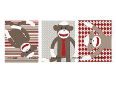 Art for kids matches lot of Sock Monkey bedding by LittlePergola, $47.00