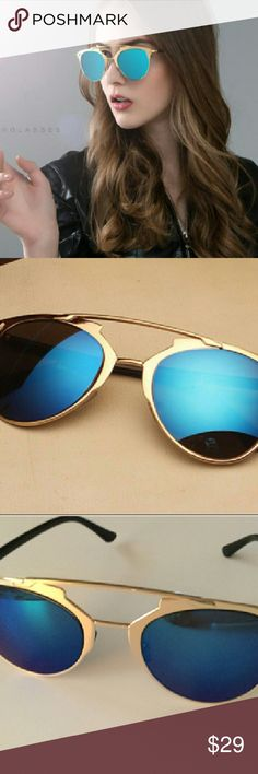 RETRO VINTAGE SUNGLASSES BLUE MIRRORED NEW RETRO VINTAGE SUNGLASSES BLUE MIRRORED WITH GOLD FRAME. THESE ARE SO CUTE!!  WEAR OUT FOR EVERY OCCASION PARTY'S, BEACH, OUT ON THE TOWN.  YOU WILL LOVE THEM. Accessories Sunglasses